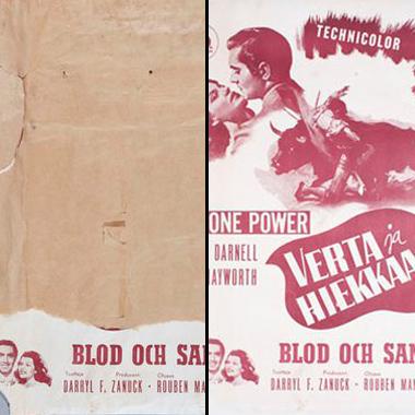Before and After Conservation: Movie Poster from the 50s (Ennen ja jälkeen konservoinnin: Elokuvajuliste 40-luvulta)